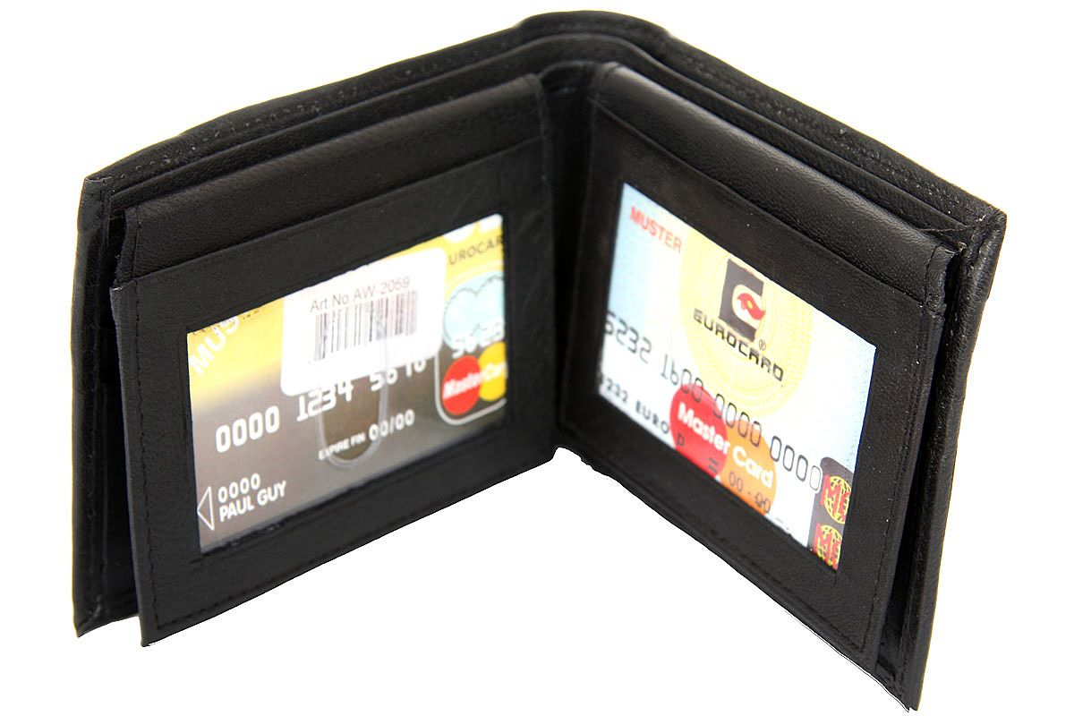 Bifold double bill 4 id window 6 credit card wallet black for 2 id window wallet