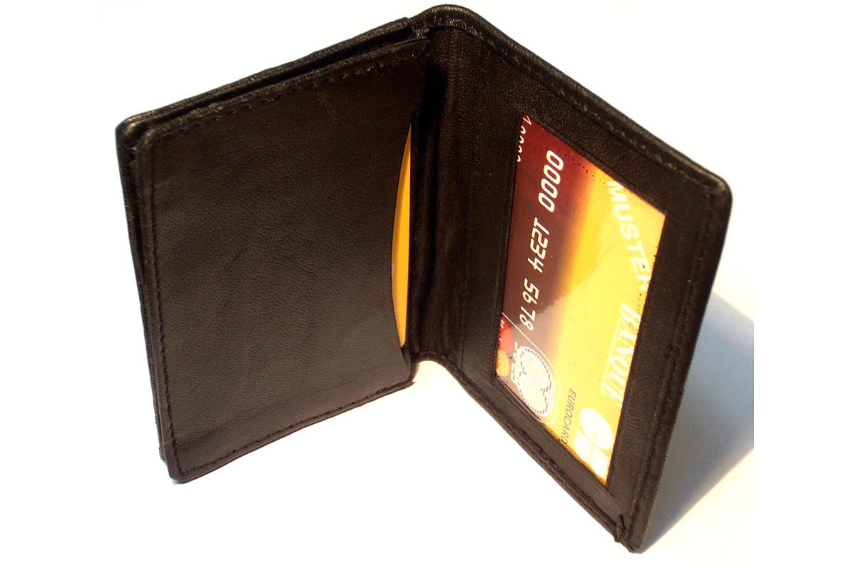 Leather Credit Card & ID Holder Slim Design Black Men's ...