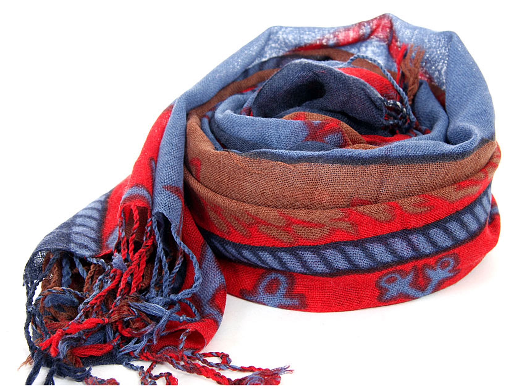 0726badc032ef Women's Nautical Symbols Wool Scarf with fringe in Blue/Red 27.5 x ...