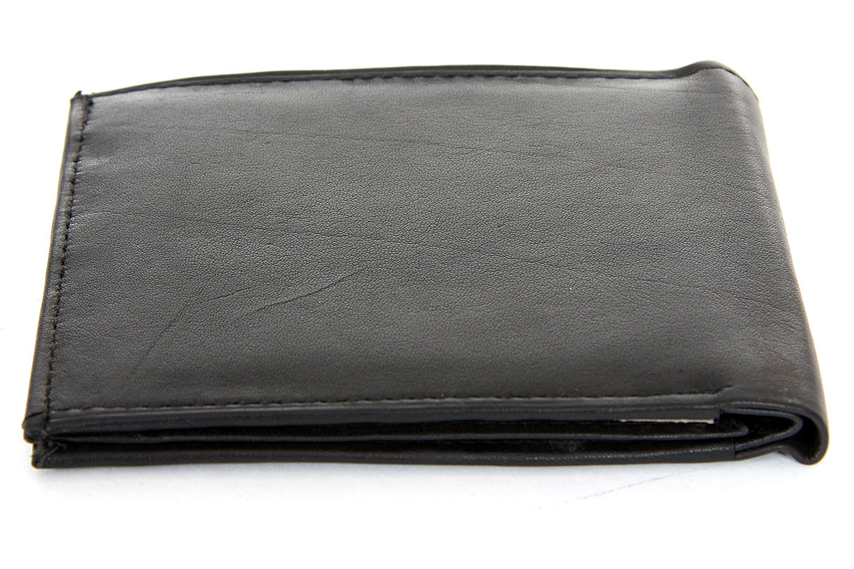 Double bill 6 credit card 2 id window leather wallet black for 2 id window wallet