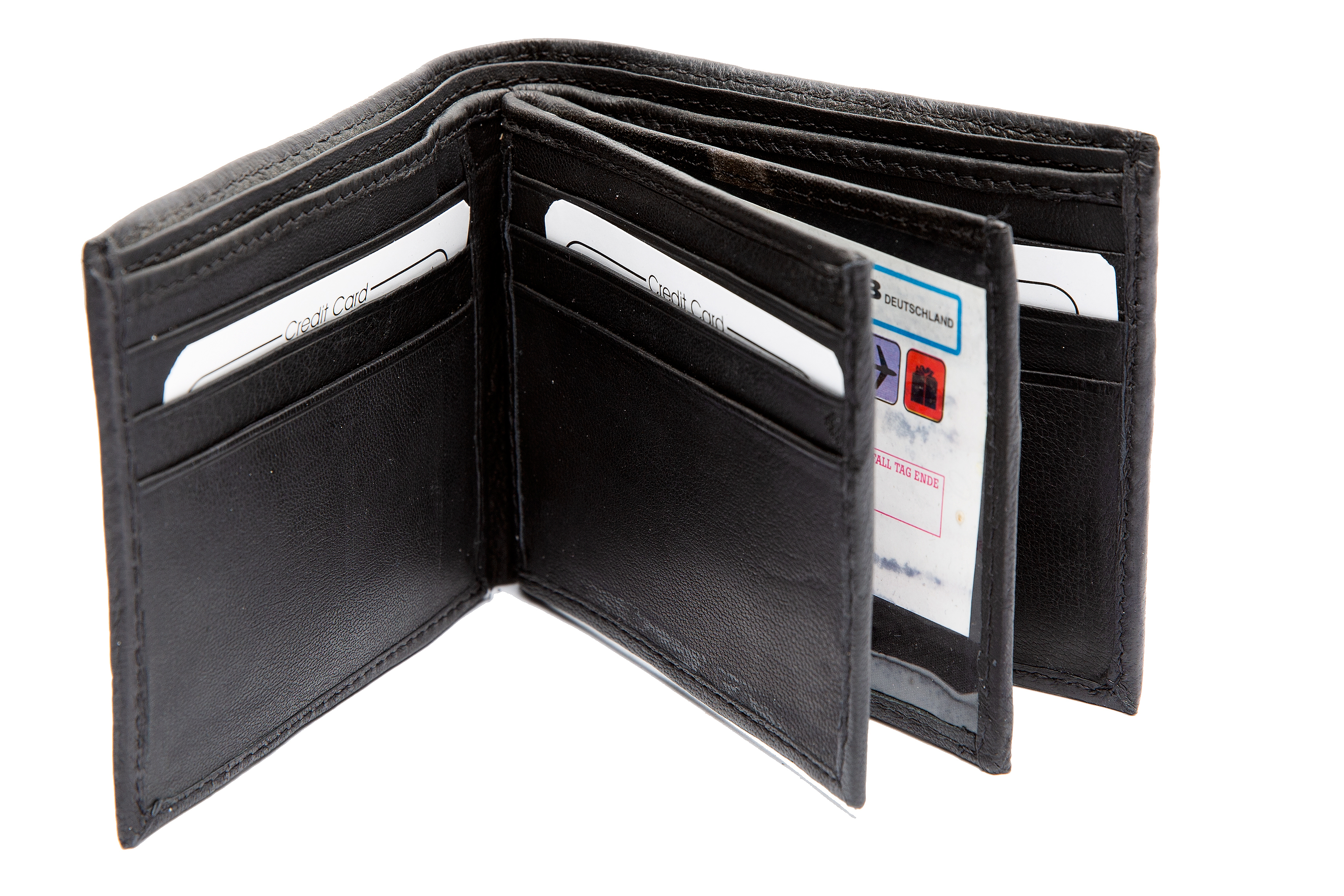 leather bifold 12 credit card slot 2 id window black men 39 s For2 Id Window Wallet