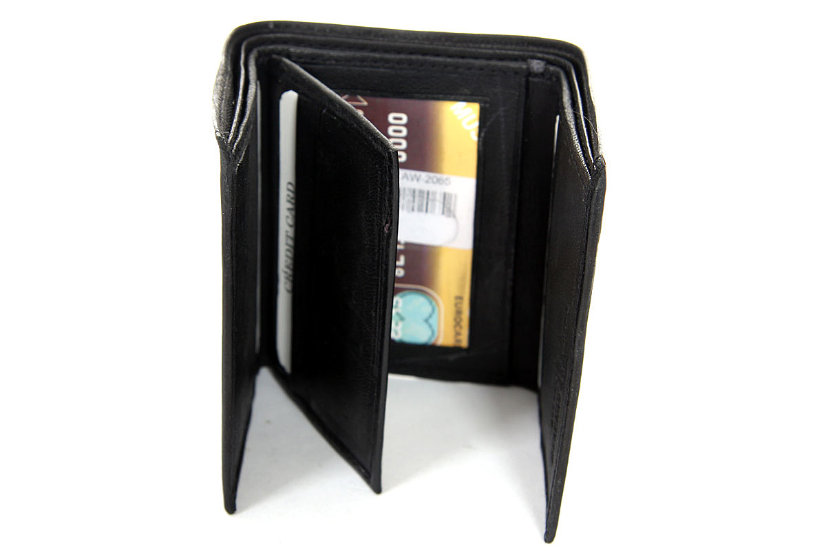men s mens 2 id window 9 credit card trifold leather wallet in black