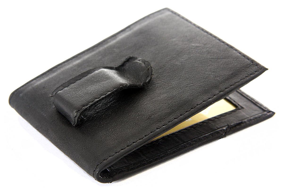 Leather Money Clip Slim Design Credit Card Id Holder Black