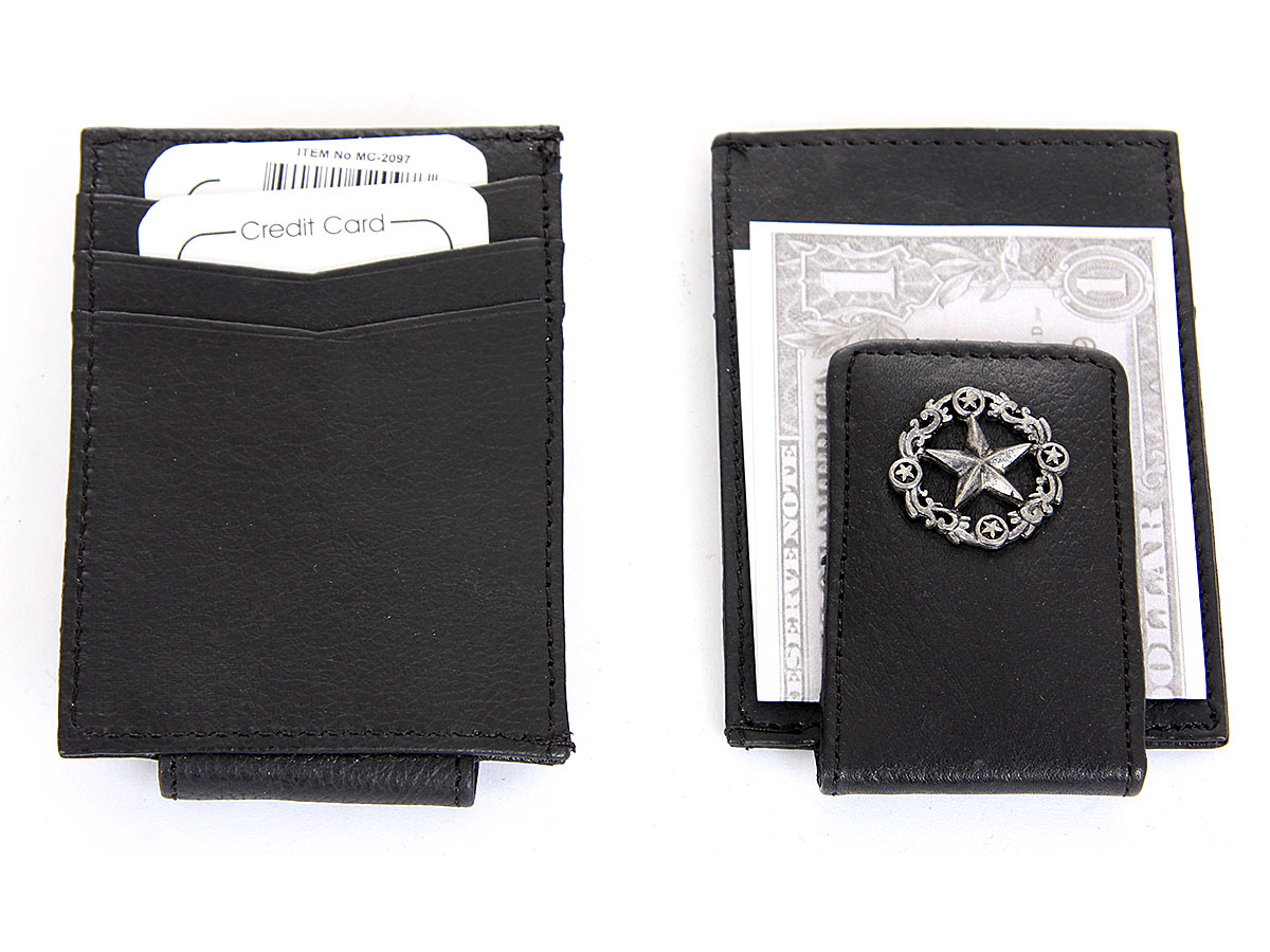 mens leather slim design lone star magnetic money clip 3 credit card holder in black 3 x 45 inches mc 2097 a1 leather wallet - Money Clip And Card Holder