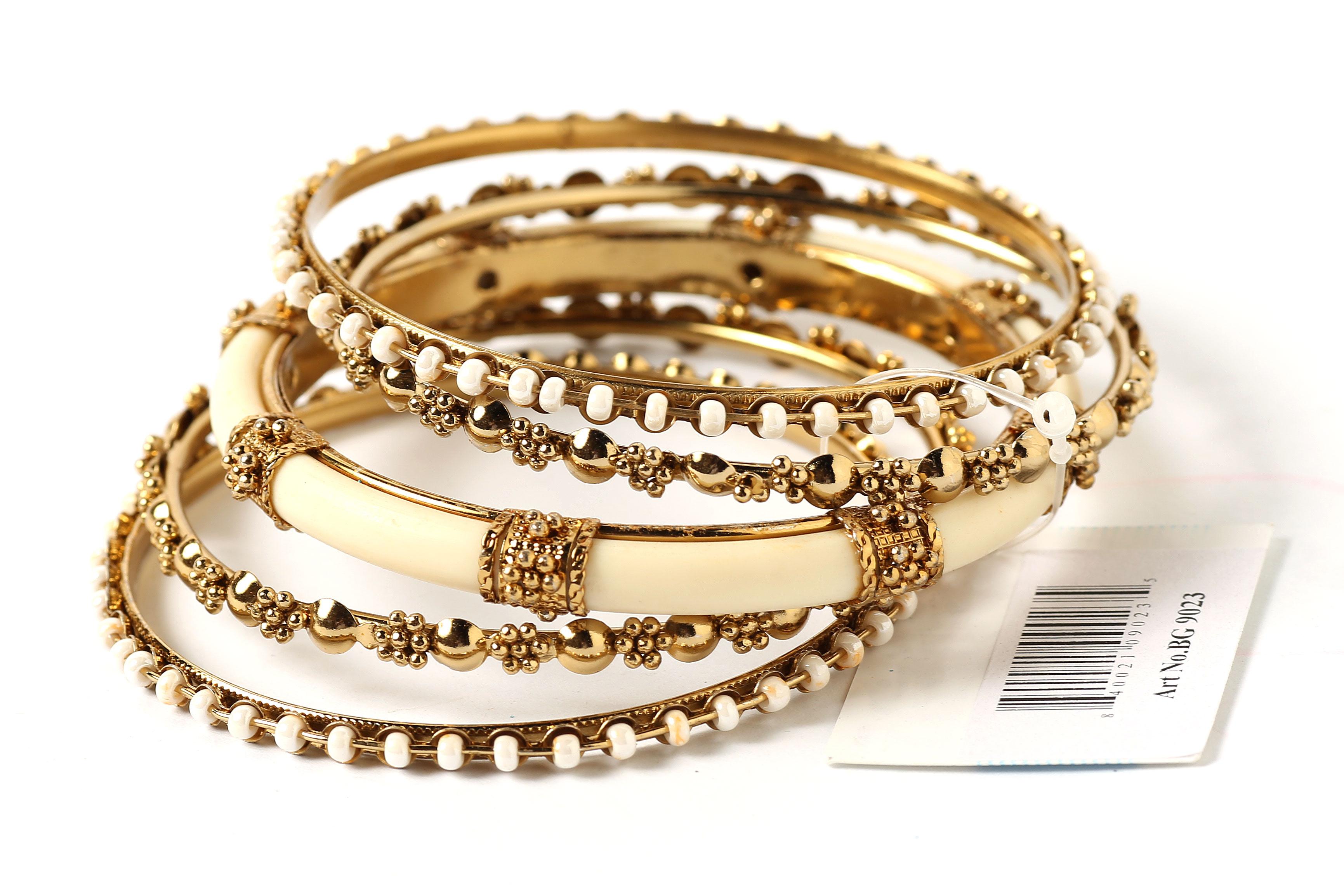 Wholesale Handbags #pob-03900 Gold and Ivory metal with Resin bangle